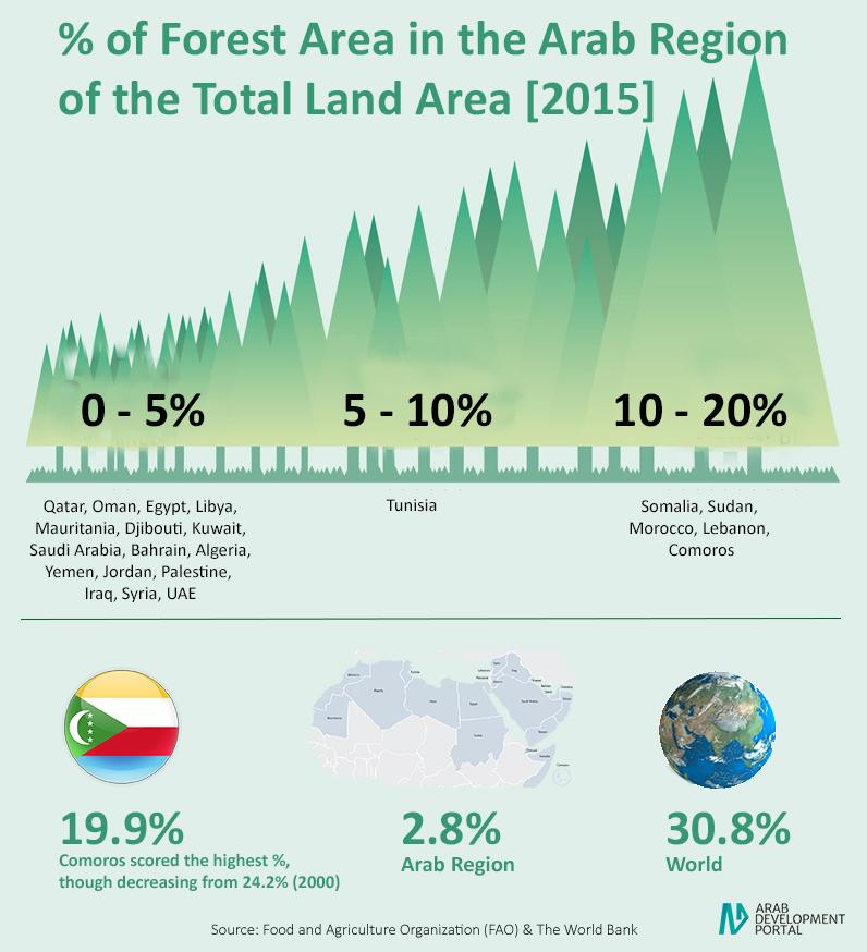 مساحة الغابات في المنطقة العربية